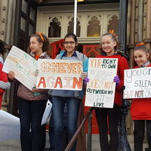 Students outside St. Patrick's Church in Washington, D.C. March 24 (Photo: Teresa Donnellan)