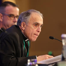 Cardinal DanielDiNardo of Galveston-Houston, president of the U.S. Conference of Catholic Bishops, listens to a question on Nov. 12 during the fall general assembly of the USCCB in Baltimore. (CNS photo/Bob Roller)