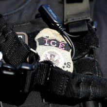The badge of a U.S. Immigration and Customs Enforcement officer in Santa Ana, Calif., in May 2017. (CNS photo/Lucy Nicholson, Reuters)