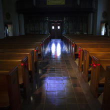 "Empty pews are seen at St. Gabriel Catholic Church in Washington July 11, 2020. A report released July 16, 2020, by the Leadership Roundtable calls for the Vatican and the U.S. Conference of Catholic Bishops to ""create structures and laws for ethical financial leadership."" (CNS photo/Tyler Orsburn)"