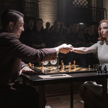 "Marcin Dorocinski as Vasily Borgov and Anya Taylor-joy as Beth Harmon in ""The Queen's Gambit"" (Phil Bray/Netflix)."