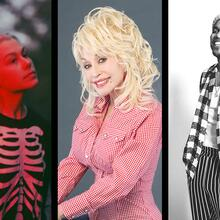 Phoebe Bridgers in a skeleton onesie, Dolly Party with her big blonde hair and red and white checkered top, and Anderson .Paak in black and white, black and white checkered top