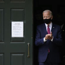 President-elect Joe Biden departs St. Joseph on the Brandywine Roman Catholic Church in Wilmington, Del., on Sept. 13, 2020. (AP Photo/Patrick Semansky, File)
