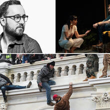 "Photo of Will Arbery, upper left, and ""Heroes of the Fourth Turning,"" upper right, courtesy Playwrights Horizon. Bottom photo: Catholic News Service"