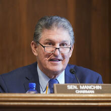 Sen. Joe Manchin, D-W.Va., speaks during a Senate Committee on Energy and Natural Resources hearing on the nomination of Rep. Debra Haaland, D-N.M., to be Secretary of the Interior on Capitol Hill in Washington, Wednesday, Feb. 24, 2021. (Leigh Vogel/Pool via AP)