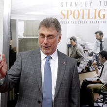 "Marty Baron, former editor of The Boston Globe, walks the red carpet as he attends the Boston area premiere of the film ""Spotlight"" at the Coolidge Corner Theatre, in Brookline, Mass, Oct. 28, 2015. (AP Photo/Steven Senne, File)"