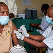 A man receives a vaccine against the coronavirus disease (COVID-19) at the Masaka hospital in Kigali, Rwanda, March 5, 2021. (CNS photo/Jean Bizimana, Reuters)
