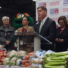 "Frederick Wiseman's latest film, ""City Hall,"" is a portrait of the city of Boston. Mayor Marty Walsh appears here at the Greater Boston Food Bank (Zipporah Films)."