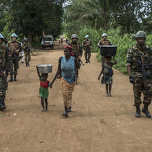U.N. peacekeepers on a joint patrol with members of the reconstituted Central African Armed Forces in Bangassou, Central African Republic, in August. (UN Photo/Herve Serefio)