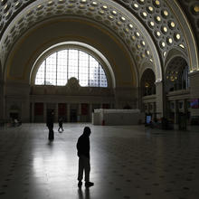 Union Station's nearly deserted Main Hall in Washington, D.C., on Monday, March 16. (AP Photo/Patrick Semansky)