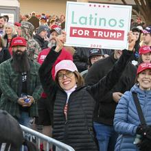 Supporters gather outside before a rally for President Donald Trump at the Las Vegas Convention Center on Friday, Feb, 21, 2020. (Dylan Stewart/Image of Sport via AP)