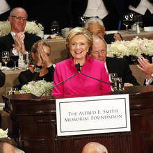 Hillary Clinton at the 71st annual Alfred E. Smith Memorial Foundation Dinner at the Waldorf Astoria hotel in New York City, Oct. 20, 2016 (CNS photo/Gregory A. Shemitz).