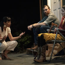 Zoë Winters, Jeb Kreager and Julia McDermott in 'Heroes of the Fourth Turning' at Playwrights Horizons (photo: Joan Marcus)