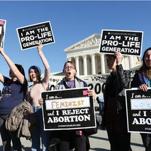 Young women in front of the U.S. Supreme Court during the 45th annual March for Life in Washington, D.C., Jan. 19, 2018 (CNS photo/Gregory A. Shemitz)