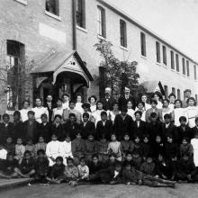 "Residents of an ""Indian school,"" Regina, Saskatchewan, 1908."