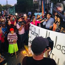Family members and indigenous activists protest outside the courtroom as the killers of Berta Cáceres were convicted. But did the investigation go far enough. Photo by Jackie McVicar