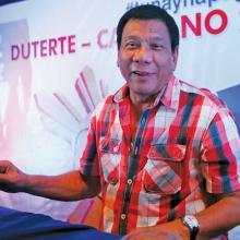 """THE PUNISHER."" Rodrigo Duterte at a news conference in his hometown in Davao city in the southern Philippines on May 9, 2016."