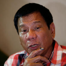 Philippine President-elect Rodrigo Duterte talks to reporters May 9 in Davao City (CNS photo/Erik De Castro, Reuters).