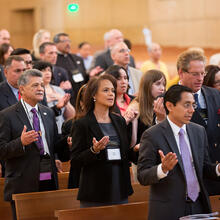 Members of Catholic Association of Latino Leaders gather for Mass at annual meeting in Los Angeles, Aug. 27