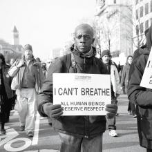 Protesting police shootings and racism during a rally in Washington, D.C., in December 2014.