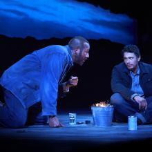 "UNFORGIVEN. Chris O'Dowd and James Franco in ""Of Mice and Men"" (Photo by Richard Phibbs)."