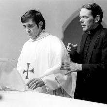 "William J. O'Malley, S.J., right, as Father Dyer, in ""The Exorcist."" Jason Miller, left, played Father Damian Karras."