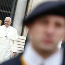 Pope Francis leaves at end of the general audience at the Vatican, October 29.