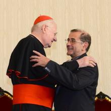 Cardinal Angelo Scola greets Mario Delpini, the newly named archbishop of Milan (photo: ChiesadiMilano)