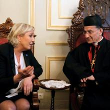 Marine Le Pen, French National Front (FN) political party leader and candidate for the French 2017 presidential elections, meets with Patriarch Bechara Boutros al-Rai in Bkerke, north of Beirut, Lebanon, on Feb. 21, 2017. Photo courtesy of Reuters/Mohamed Azakir