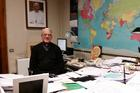 Father Federico Lombardi at his desk at the Holy See Press Office (photo by James Martin, S.J.)