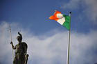 The Irish flag is seen in late March on top of the General Post Office in Dublin. (CNS photo/Aidan Crawley, EPA)