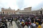 A large crowd is seen as Pope Francis leads the Angelus in St. Peter's Square Oct. 22 at the Vatican.