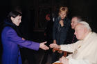 Pope John Paul II greets Dolores O'Riordan, lead singer of Irish pop group The Cranberries, in 2001 at the Vatican. The 46-year-old Catholic lead singer of the Irish band was found dead on Jan. 15 in her London hotel room. (CNS photo/L'Osservatore Romano via Reuters)