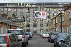 A banner with an image of Pope Francis decorates a street Aug. 13 in Dublin. Pope Francis will visit Dublin and Knock Aug. 25-26, mainly for the World Meeting of Families. (CNS photo/Clodagh Kilcoyne, Reuters)
