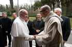 Pope Francis greets Benedictine Abbot Bernardo Gianni during the Lenten retreat for the Roman Curia in Ariccia, Italy, on March 10. (CNS photo/Vatican Media via Reuters)