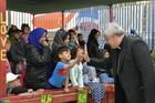 Cardinal Konrad Krajewski, the papal almoner, visits the Hope and Peace Center for refugees near the Moria refugee camp on the Greek island of Lesbos May 8, 2019. (CNS photo/Vatican Media)