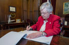 Alabama Gov. Kay Ivey signs into law a bill to ban abortion in nearly all cases at the state Capitol in Montgomery on May 15. (CNS photo/Office of the Governor State of Alabama handout via Reuters)