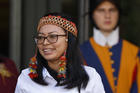 Leah Rose Casimero, an indigenous representative from Guyana, leaves the first session of the Synod of Bishops for the Amazon at the Vatican on Oct. 7, 2019. (CNS photo/Paul Haring)