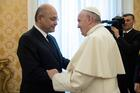 Pope Francis greets Iraqi President Barham Salih at the Vatican Jan. 25, 2020. The Vatican has confirmed Pope Francis will visit Iraq March 5-8. (CNS photo/Vatican Media)