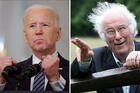 President Joe Biden (CNS photo/Tom Brenner) and Seamus Heaney (Reuters/Niall Carson/PA Wire)