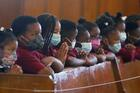 Students of Drexel Neumann Academy pray during Mass at St. Katharine Drexel Church in Chester, Pa., on May 24, 2021. (CNS photo/Sarah Webb, CatholicPhilly.com)
