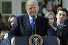 President Donald Trump addresses the 2018 March of Life from the Rose Garden of the White House in Washington. (AP Photo/Pablo Martinez Monsivais)