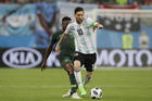Argentina's Lionel Messi, front competes for the ball during the match between Argentina and Nigeria at the 2018 soccer World Cup in the St. Petersburg Stadium in St. Petersburg, Russia, on June 26. (AP Photo/Dmitri Lovetsky)