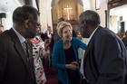 Democratic presidential candidate Sen. Elizabeth Warren, D-Mass., shakes hands with Alabama State Sen. Henry Sanders at the Brown Chapel AME Church in Selma, Ala., on March 19. (Jake Crandall/The Montgomery Advertiser via AP)