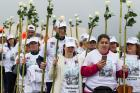 Pilgrims arrive at the Marian shrine of Fatima May 10 in central Portugal (CNS photo/Paulo Cunha, EPA).