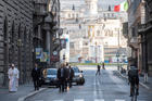 Pope Francis walks the nearly deserted streets of Rome in late afternoon on March 15. (Copyright: Vatican Media)