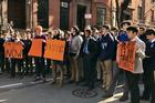 Xavier High School students fill West 16th Street during the National School Walkout Day. (Credit: Shawna Gallagher Vega/Xavier High School)