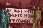 Front: Lucas, Mike, and Dustin from Season 2 of Stranger Things. Back: A sign erected by white tenants seeking to prevent blacks from moving into a housing project in Detroit, 1942. (Netflix, Wikipedia Commons)