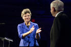 Cokie Roberts, master of ceremonies, applauds Defense Secretary Robert M. Gates during the U.S. Global Leadership Campaign Tribute dinner honoring Gates in Washington, D.C., July 15, 2008. (Photo via Wikimedia Commons)
