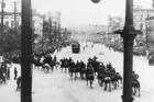 Royal North West Mounted Police operations in Winnipeg General Strike, 1919; turning left on William Street towards City Hall, shortly before firing into the crowd.